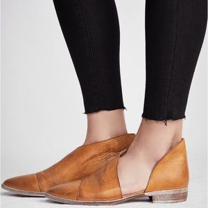 Free People Royale Cognac Leather Flats Size 7